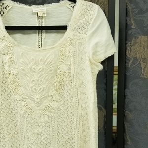 Anthropologie Meadow Rue cream lace tee